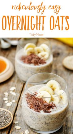 Don't have time to make breakfast in the morning?  Overnight Oats and ridiculously easy and with all the topping options, you'll never feel like your eating the same breakfast every day!