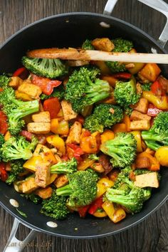 QUICK VEGGIE TOFU STIR-FRY - I love making easy dinner recipes that are healthy, easy and delicious. Because I love Asian food so much this Quick Veggie Tofu Stir-fry was what we had for dinner today. Vegan, gluten free and better than take out! Veggie Recipes, Asian Recipes, Whole Food Recipes, Cooking Recipes, Dinner Recipes, Veggie Food, Veggie Side, Broccoli Recipes, Cleaning Recipes