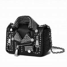 Studded Motorcycle Jacket Handbag - Vegan Leather!  FREE SHIPPING