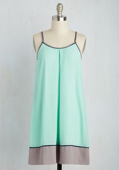 The Pier-fect Date Dress - Mint, Grey, Solid, Casual, Colorblocking, Shift, Sleeveless, Spring, Woven, Good, Short