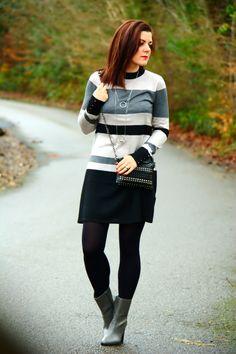 grey booties + blk tights + black skirt + grey striped top