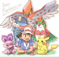 Ash and Pikachu with their Kalos Pokémon team ^.^ <3