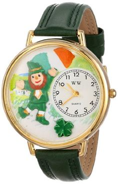 Whimsical Watches Unisex G1224001 St. Patrick's Day Irish Flag Green Leather Watch - http://www.artistic-watches.com/2015/03/08/whimsical-watches-unisex-g1224001-st-patricks-day-irish-flag-green-leather-watch/