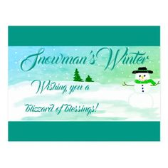 """Snowman's Winter"" Postcard - merry christmas postcards postal family xmas card holidays diy personalize"