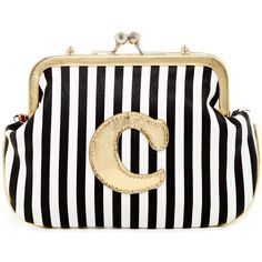 Melie Bianco Striped Initial Pouch - C (67 RON) ❤ liked on Polyvore featuring bags, handbags, clutches, gold, stripe purse, white purse, melie bianco purse, gold purse and white clutches