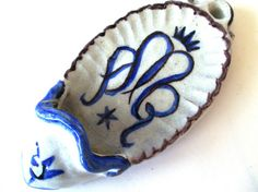 lovely blue & white ceramic holy water holder (stoup) from Germany, midcentury housewares