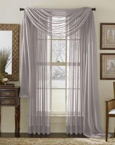 "2 Piece Solid Silver Sheer Curtains Fully Stitched Panels Window Drape 54"" X 84"" Qutain Linen http://www.amazon.com/dp/B00G8JQHC2/ref=cm_sw_r_pi_dp_oY.Rvb110GQW7"
