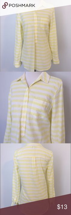 """Old Navy Striped Shirt - Yellow Worn once, in excellent condition. Made of thicker cotton.  Dress form size:  27"""" torso height 14"""" shoulder to shoulder  33"""" bust 24"""" waist 34"""" hips Old Navy Tops Button Down Shirts"""