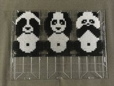 See no, hear no, speak no perler bead panda bears. Not my original design; however, I made minor modifications. Keywords: Artkal, Hama, IKEA, Pyssla, Nabbi, fuse beads, melty beads.