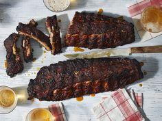 The texture of these smokey beauties is everything you want. Cooking over an indirect heat gives them a crispy exterior bark, while the meat stays tender, but not completely falling-off-the-bone tender—you're left with the perfect amount of chew. Barbecue Recipes, Grilling Recipes, Cooking Recipes, Grilling Ideas, Barbecue Sauce, Cooking Tips, Ribs On Grill, Bbq Ribs, Grilling Ribs