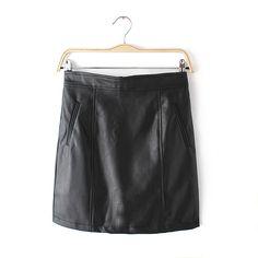 Women New Arrival Faux Leather Skirt OL Work Skirt Ladies' Elegant Fashion Basic Formal Black Skirts For 4 Season Love it? Get it here