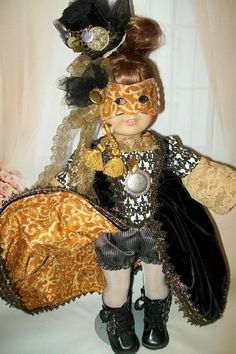 American Girl Clothing. Stunning Steampunk Masquerade Costume with Mask and Hat OOAK. $55.00, via Etsy.