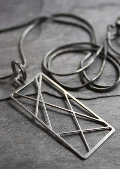 Steel Criss-Cross Charm Necklace