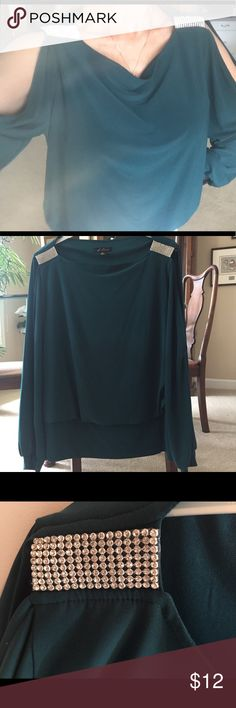 Cold shoulder top Cold shoulder top with rhinestones at shoulder Like new condition. S Levine Tops Blouses
