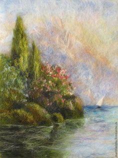 Картина из шерсти Крымский пейзаж - тёмно-зелёный,море,морской пейзаж