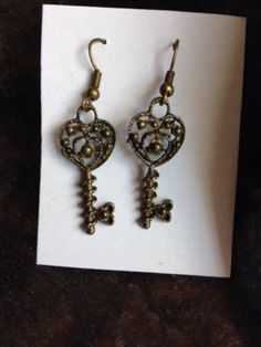 Steampunk #gothic antique brass effect #ornate key drop #earrings ,  View more on the LINK: http://www.zeppy.io/product/gb/2/191864102860/