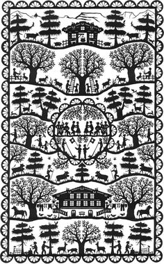 """Scherenschnitte which means """"scissor cuts"""" in German is the art form of paper cutting. The artwork often has symmetry within the design. This art tradition was found in Switzerland and Germany in the 16th century."""