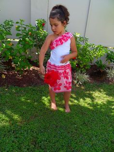 One Shoulder Frill Dress Handamde by Little Mamaz, polynesian chic for you babys, girls and boys view full range facebook.co/littlemamaz