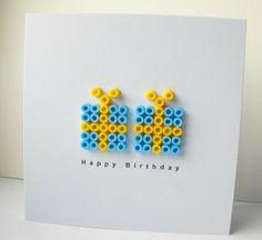 Leuke knutselideetjes met / voor de kids   verjaardagskaart met strijkkralen via pinterest Door PetraVonk
