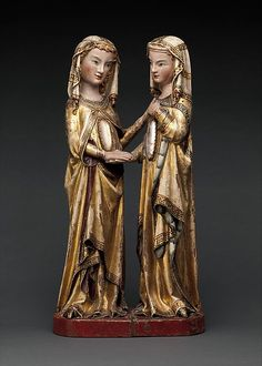 """The Visitation/ca.1310–20/Attributed to Master Heinrich of Constance (German, active in Constance, ca. 1300)/Constance/Mary tenderly places her hand on Elizabeth's shoulder, while her cousin raises her arm to her breast in reference to her declaration, """"Who am I, that the mother of the Lord should visit me?"""" (Luke 1:43)"""