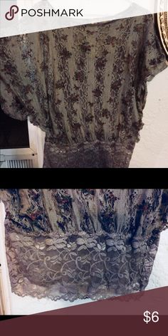 Lace top Grey and floral blouse with  lace stretchy trim Tops Crop Tops