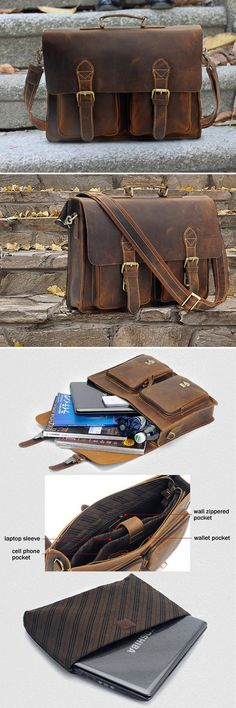 "Vintage Handmade Crazy Horse Leather Briefcase / Messenger Bag -- with a 14"" 15"" Laptop / 13"" 15"" MacBook Sleeve -- Men's Bag"