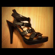 ✨HP✨ Black strappy shoes Sexy and comfortable. Wore one time on a date. Too high for me now-a-days. Shoes