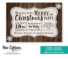 Rustic Christmas Party invitation. I by NineEighteenHolidays