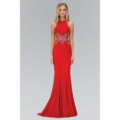 Elizabeth K GL1357P High Neck Illusion Back Jersey Full Length Gown in... ($238) ❤ liked on Polyvore featuring dresses, gowns, beaded gown, see-through dresses, red evening gowns, jersey evening gown and red jersey dress
