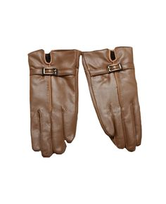 Buckle-detailed Fully-lined Suede Gloves