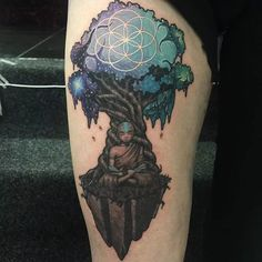 Avatar Tattoo by Joe Phillips Back Tattoos, Future Tattoos, Body Art Tattoos, Sleeve Tattoos, Tatoos, Avatar Aang, Avatar The Last Airbender, Avatar Tree, Avatar Tattoo