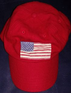 Ralph lauren polo red flag canada wool leather strap hat one size fit all   fashion 6e3f4602a819