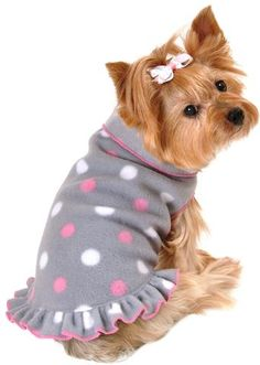 Cozy Fleece Pullover Tank Dress w/Ruffle Skirt in color Gray/Pink Dots - Daisey's Doggie Chic - 1