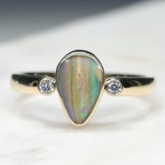 Natural Australian Boulder Opal and Diamond Gold Ring  - Size 7 Code - RL36 10k Gold Ring, Gold Diamond Rings, Gemstone Rings, Silver Rings, Natural Opal, Natural Diamonds, Gold Ring Designs, Opal Color, Green Opal