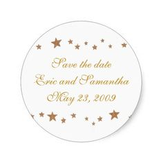 Wedding Save the date stickers with lively gold stars border; they're easy to customize. Great for weddings and anniversaries. #SaveTheDate #GoldStarWedding #GoldWedding