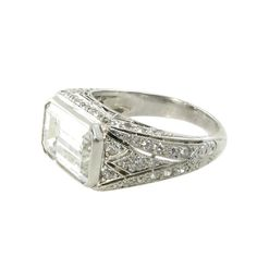 A Gorgeous Art Deco Diamond Platinum Engagement Ring | From a unique collection of vintage engagement rings at http://www.1stdibs.com/jewelry/rings/engagement-rings/