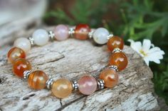 Made with Orange agate round stone beads. Moon Store, Crystal Bracelets, Bracelet Designs, Stone Beads, Agate, Photo And Video, Orange, Crystals, Handmade