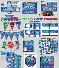 INSTANT DL- Pj Masks birthday party package kit Digital JPEG file disney junior (non personaized)