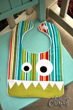 Monster Baby Bib, Handmade by Lisa