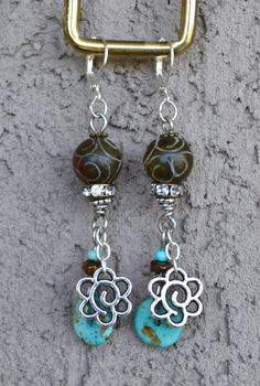 Dangle Boho Style Rustic Inspired Natural Carved Jade by LKArtChic