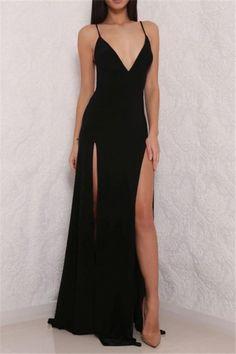 Sexy High Slit Prom Dress, Black Prom Dress, Open Back Prom Dresses