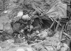 Battle of Pilckem Ridge, nr. Boesinghe, North of Ypres 31 July - 2 August 1917: Three dead Germans in the wreckage of their Dugout. 1917-07-31