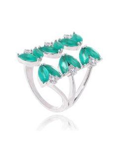 anel de folhas flutuante prata com zirconias verdes