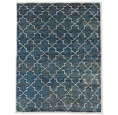 RH's Moroccan Star Rug - Ocean:Masterfully hand knotted from wool, jute and cotton, this rug has a woven motif inspired by antique Moroccan tiles. Tonal variations lend depth to the background hue. Our rugs are artisan crafted and no two are alike. Given their handwoven nature, slight variations in shading and size are inherent to the design. Imported. 50% wool, 40% jute, 10% cotton.Deluxe Rug PadLow Profile Rug Pad