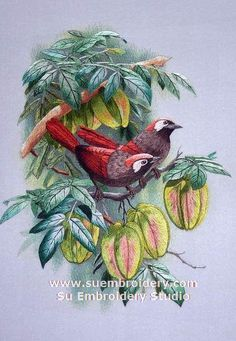 Birds, silk hand embroiderd picture, China Suzhou embroidery art