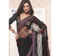 Sheer Black Sari with Gold flower and Red sequin embroidery. It is finished with purple edge borders class