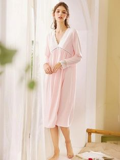 ((AffiliateLink)) Style: Elegant Color: Pink Pattern Type: Plain Neckline: V neck Type: Nightgowns Details: Button, Contrast Lace Sleeve Length: Long Sleeve Composition: Cotton, Polyester Material: Cotton Fabric: Fabric has no stretch Chest pad: No Pop Fashion, Fashion News, Lace Fabric, Cotton Fabric, Lace Button, Pink Patterns, Neck Pattern, Lace Sleeves, Elegant
