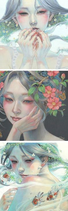 Ethereal paintings by Miho Hirano // oil painting // Japanese artists // fantastical painting // fantasy art // painted portraits