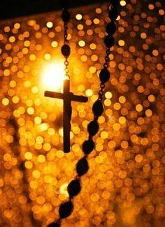 beautiful golden bokeh crucifix