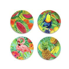 Bay Isle Home Witcher Assorted 4 Piece Melamine Salad Pate Set Tropical House Design, Tropical Interior, Tropical Home Decor, Tropical Houses, Tropical Vibes, Coastal Decor, Tropical Furniture, Tropical Colors, Pink Dinner Plates